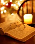 bible, candle,reading glasses